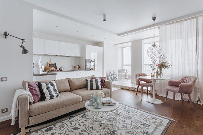 Белая гостиная в современном стиле - Дизайн интерьера
