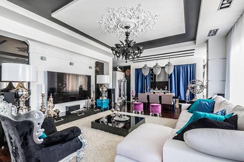 Белая гостиная в стиле арт-деко - Дизайн интерьера
