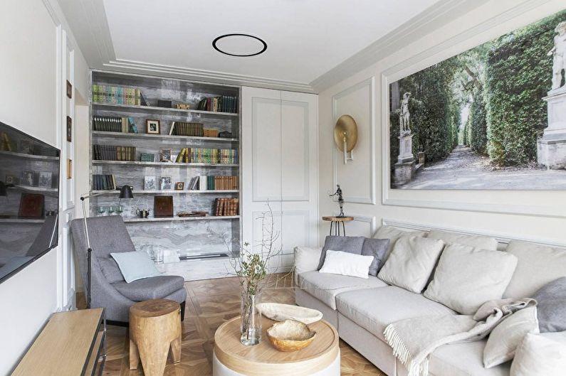 Белая гостиная в античном стиле - Дизайн интерьера