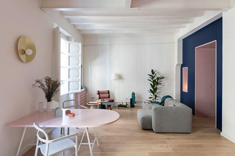 Дизайн белой гостиной - Отделка пола