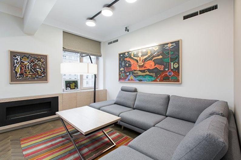Дизайн белой гостиной - Отделка стен