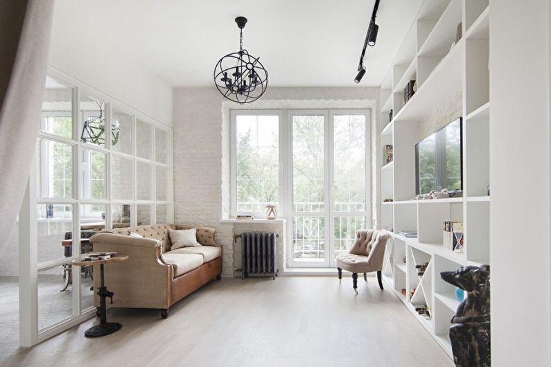 Дизайн белой гостиной - Отделка потолка