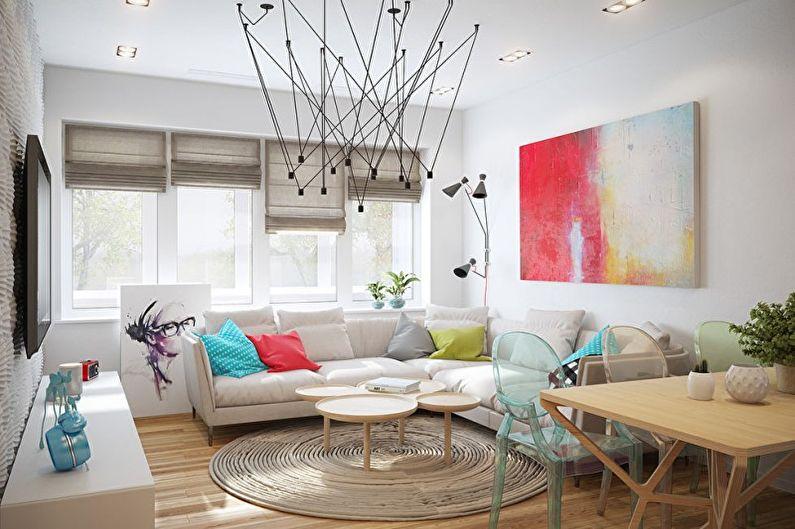 Дизайн белой гостиной - Мебель