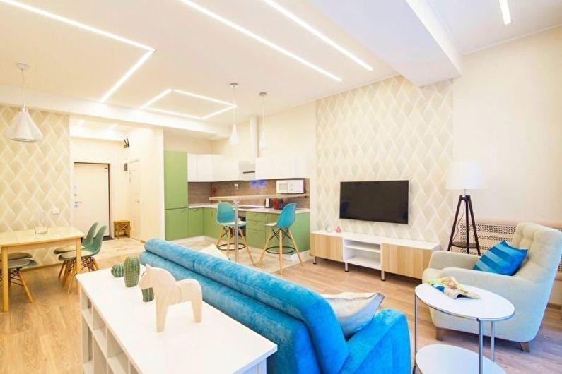Дизайн белой гостиной - Декор и освещение