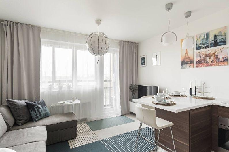 Маленькая гостиная в белом цвете - Дизайн интерьера