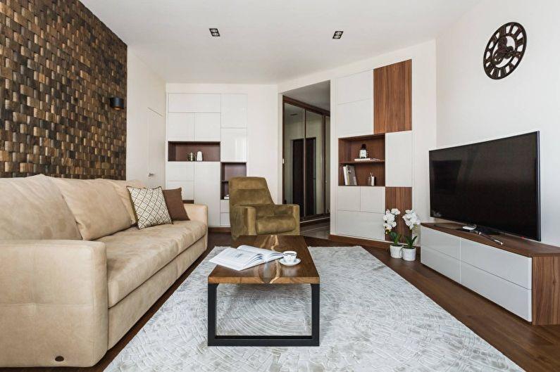 Дизайн интерьера гостиной в белом цвете - фото