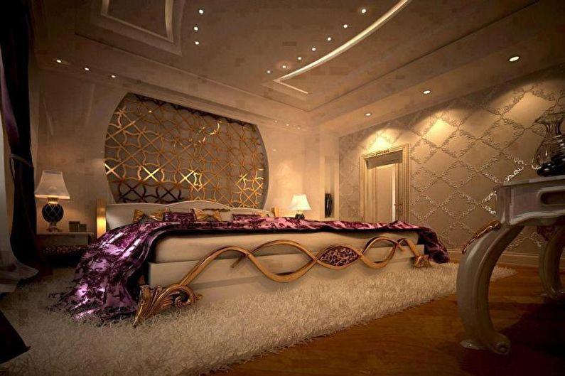 Золотая спальня в стиле арт-деко - Дизайн интерьера