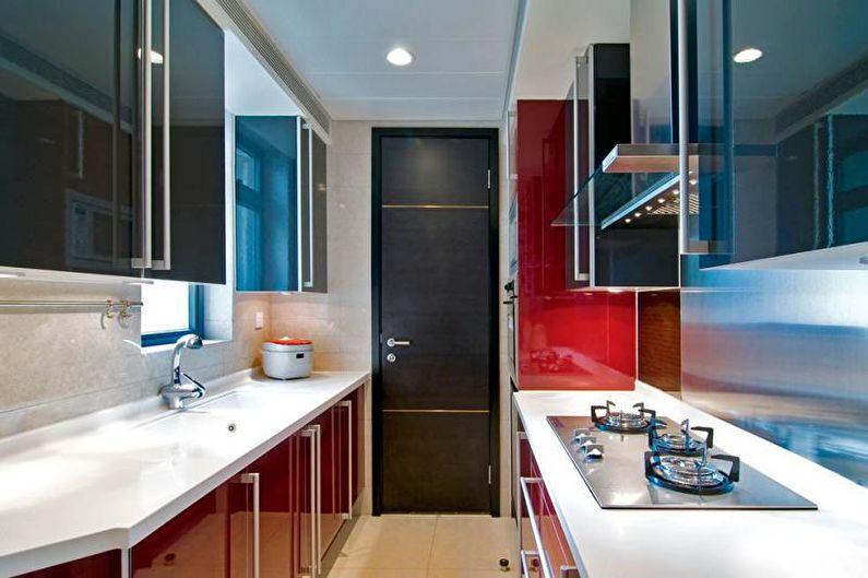 Дизайн узкой кухни (78 фото)