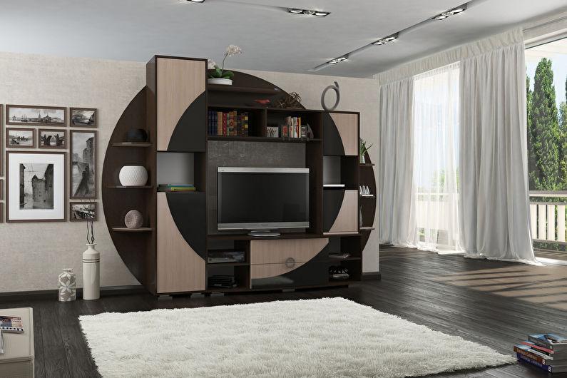 Стенка-горка для гостиной в современном стиле