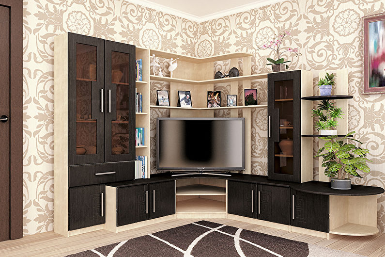 Стенка в гостиную в современном стиле - виды стенок по конфигурации