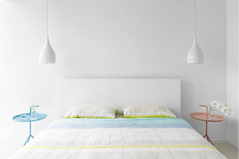 Дизайн спальни 9 кв.м. - белый цвет