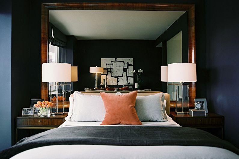 Дизайн спальни 9 кв.м. в темных тонах