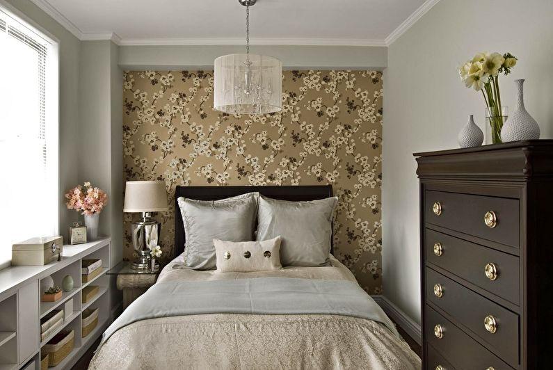Дизайн спальни 9 кв.м. - отделка стен