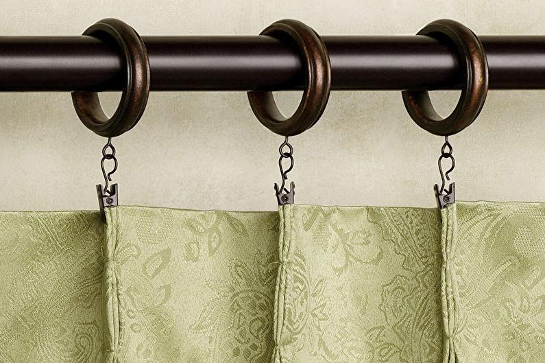 Шторы в спальню на кольцах с прищепками