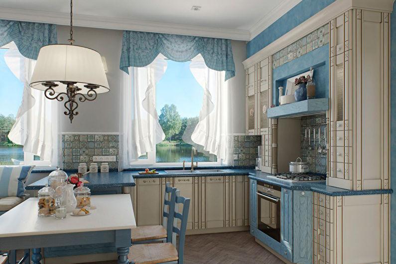 Синие шторы в стиле прованс