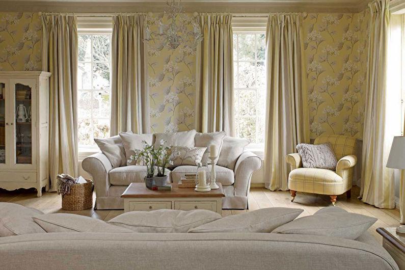 Шторы в стиле прованс в гостиной - фото