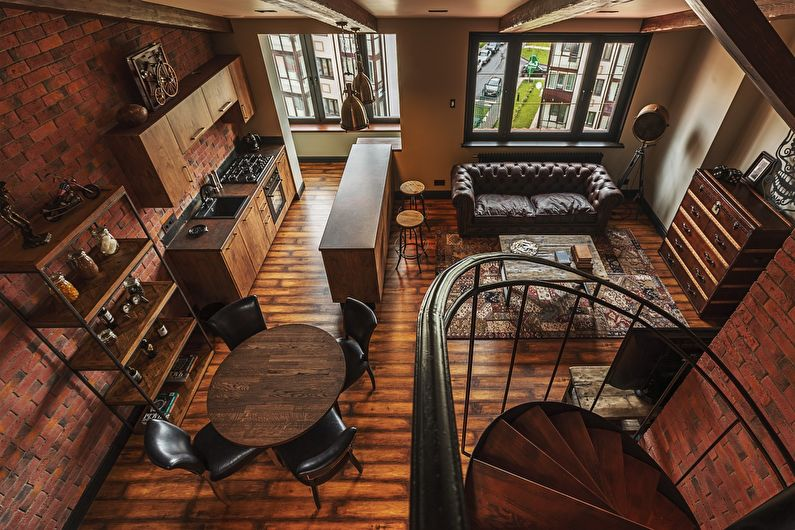 Интерьер двухэтажной квартиры в стиле лофт - фото