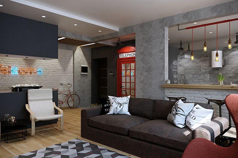 Дизайн квартиры в стиле лофт, Магнитогорск - фото