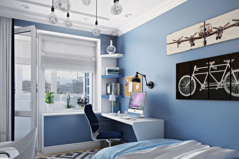 Синяя детская для мальчика - Дизайн интерьера