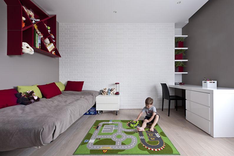 Серая детская для мальчика - Дизайн интерьера