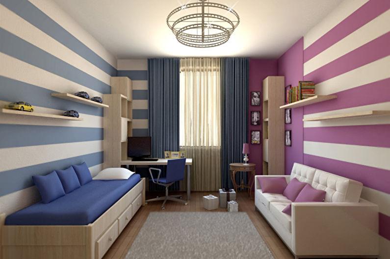 Фиолетовая детская для мальчика - Дизайн интерьера