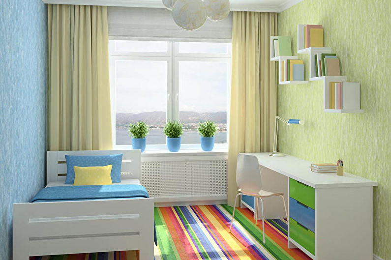 Дизайн интерьера маленькой детской для мальчика