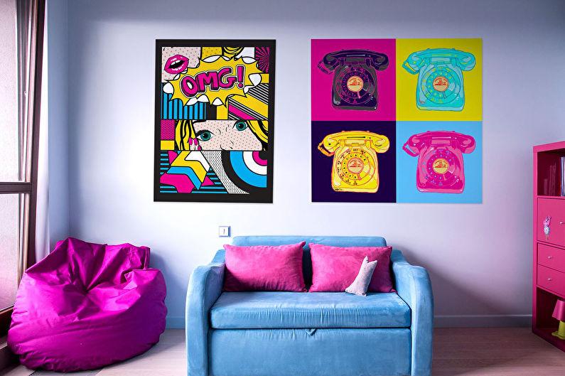 Дизайн детской комнаты для девочки в стиле поп-арт