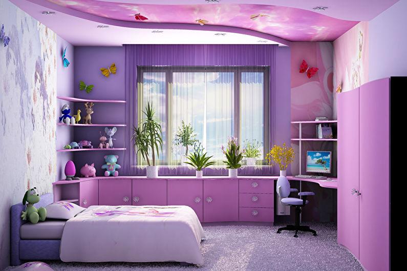 Сиреневая детская комната для девочки - Дизайн интерьера