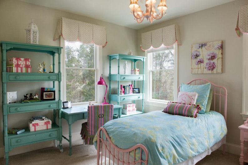 Зеленая детская комната для девочки - Дизайн интерьера