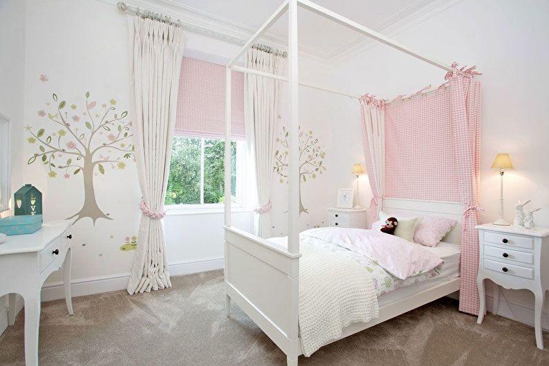 Белая детская комната для девочки - Дизайн интерьера