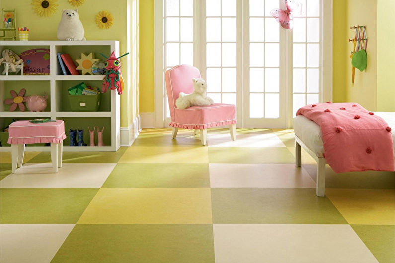 Дизайн детской комнаты для девочки - Отделка пола