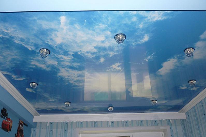 Дизайн детской комнаты для девочки - Отделка потолка