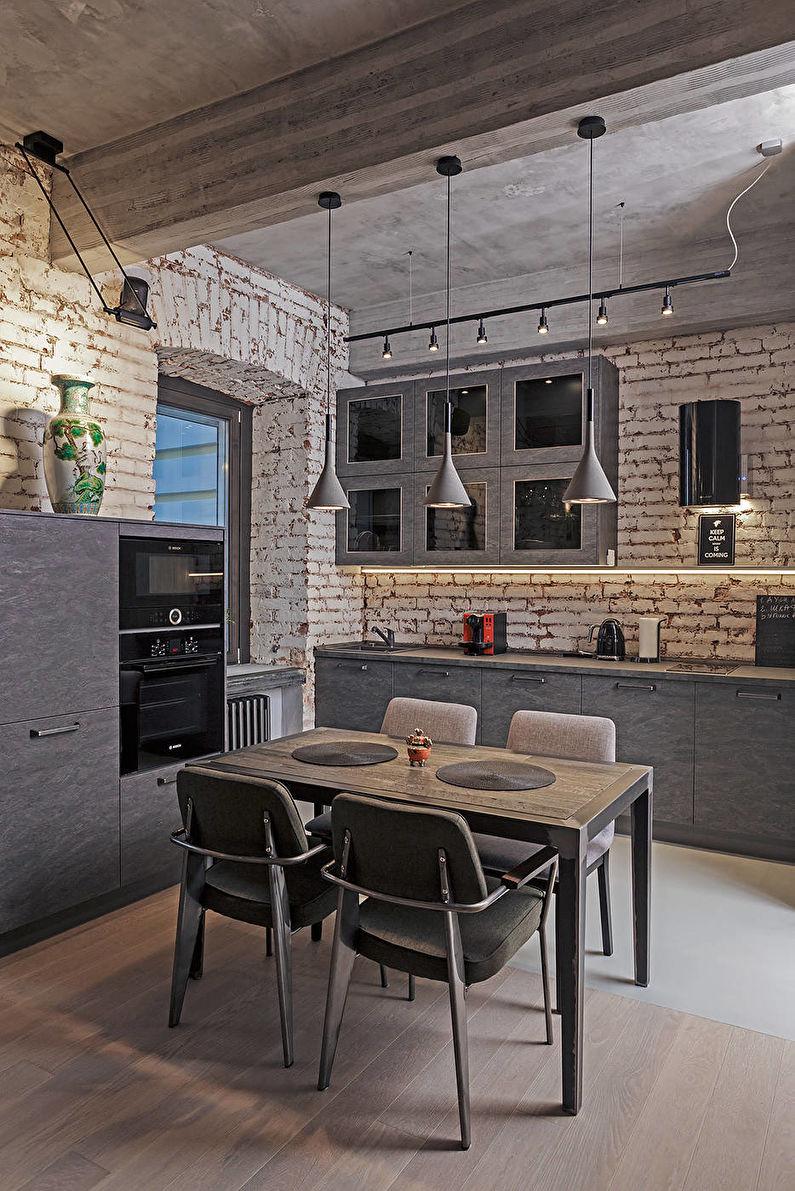 Дизайн кухни 12 кв.м. в стиле лофт