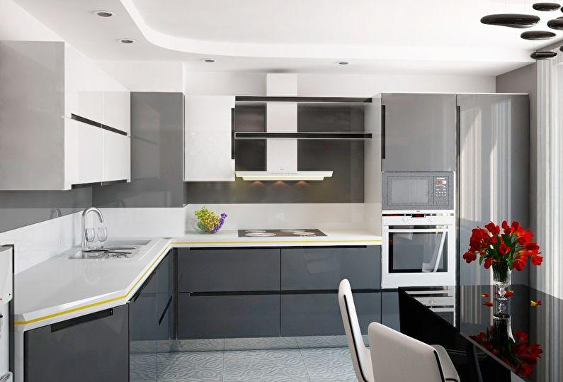 Серая кухня 12 кв.м. - Дизайн интерьера