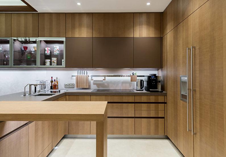 Коричневая кухня 12 кв.м. - Дизайн интерьера
