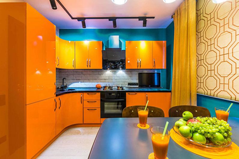 Оранжевая кухня 12 кв.м. - Дизайн интерьера