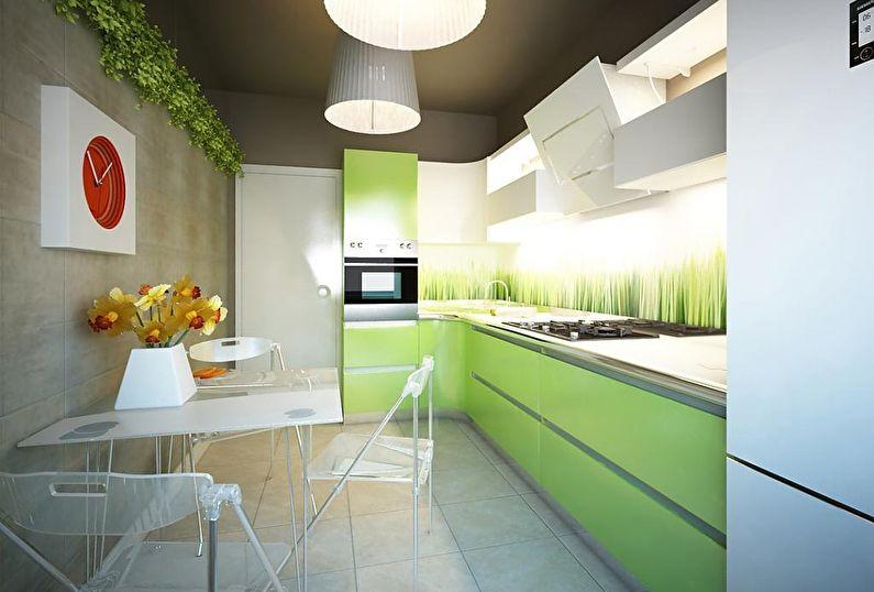 Зеленая кухня 12 кв.м. - Дизайн интерьера