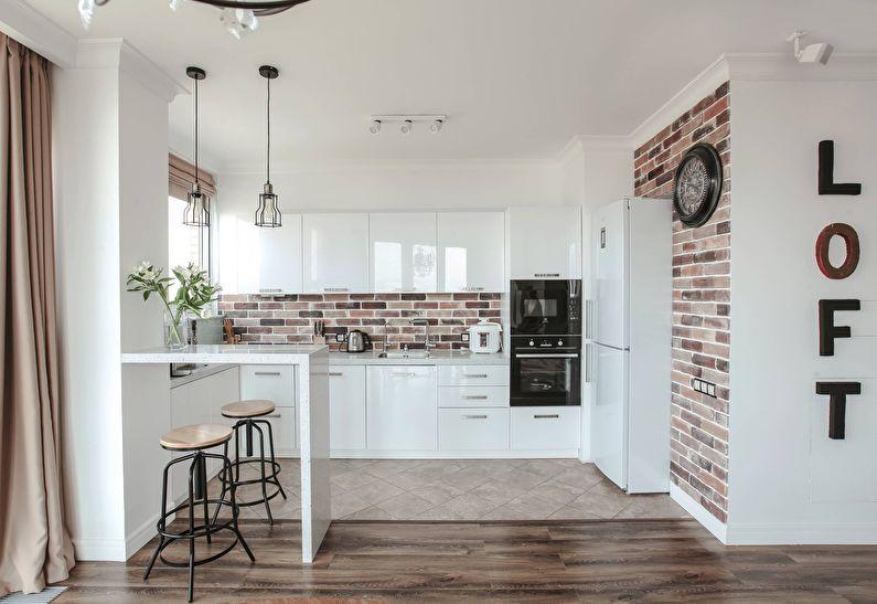 Дизайн кухни 12 кв.м. - Отделка потолка