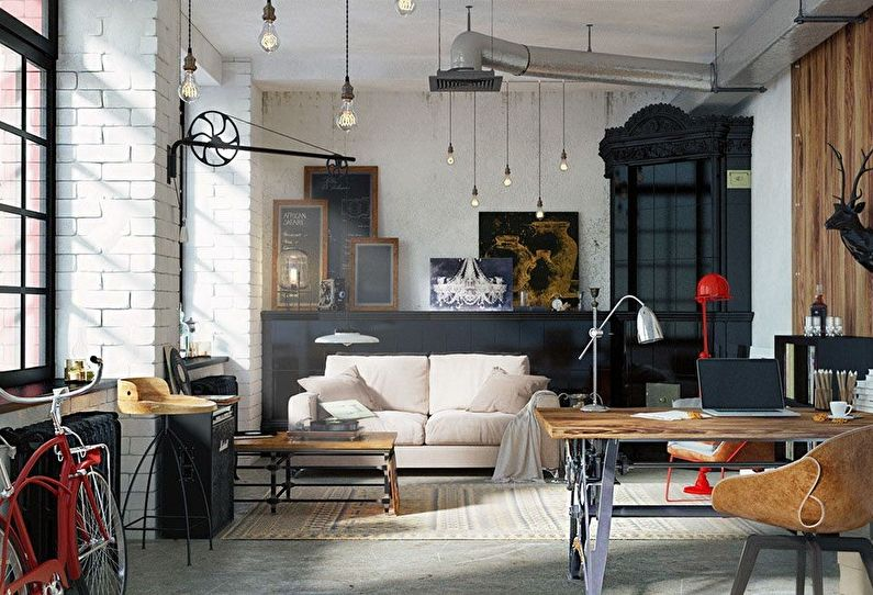 Дизайн квартиры в стиле лофт (100+ фото)