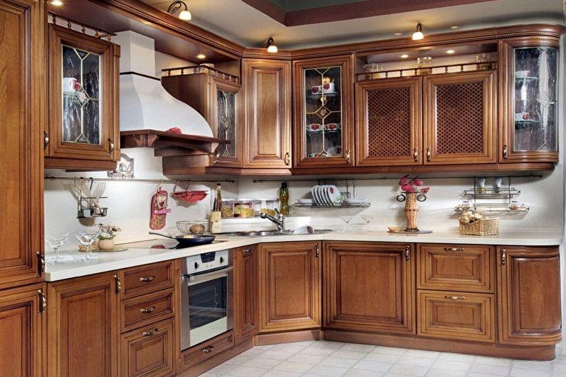 Коричневая кухня в классическом стиле - Дизайн интерьера