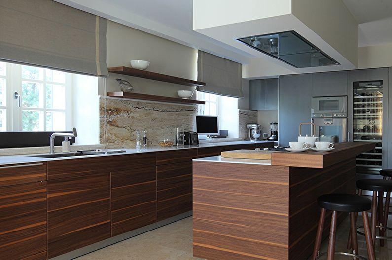 Коричневая кухня в современном стиле - Дизайн интерьера