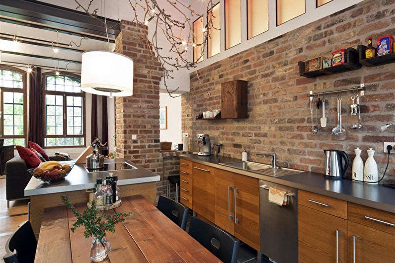 Коричневая кухня в стиле лофт - Дизайн интерьера