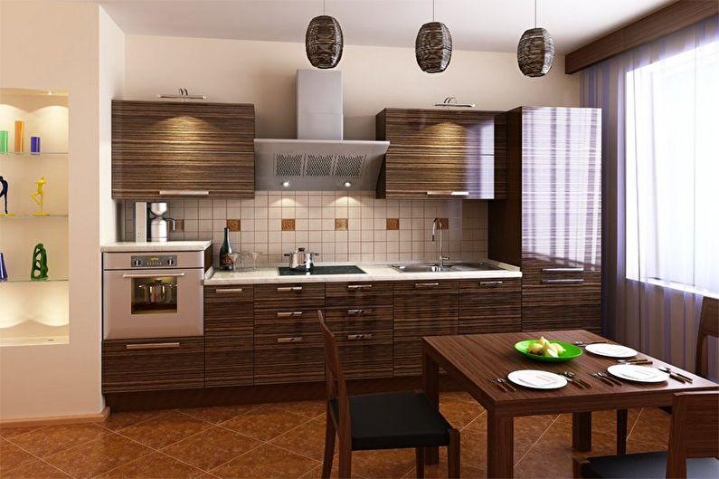 Дизайн коричневой кухни - Отделка пола