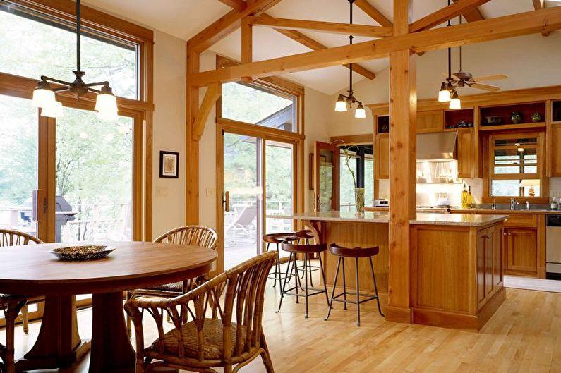 Дизайн коричневой кухни - Освещение