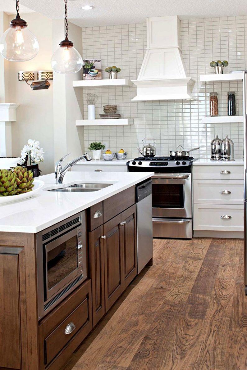 Дизайн интерьера коричневой кухни - фото