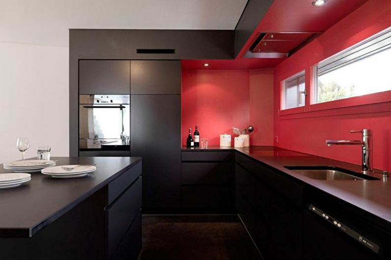 Красно-черная кухня в стиле минимализм - Дизайн интерьера
