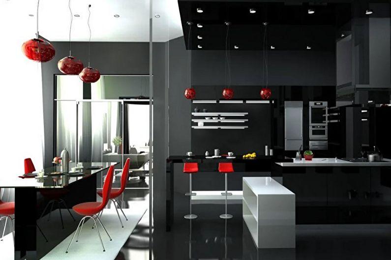Красно-черная кухня в стиле хай-тек - Дизайн интерьера