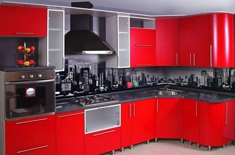Красно-черная кухня в стиле модерн - Дизайн интерьера
