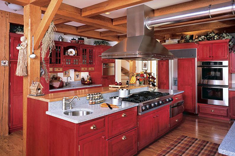 Красно-черная кухня в стиле кантри - Дизайн интерьера