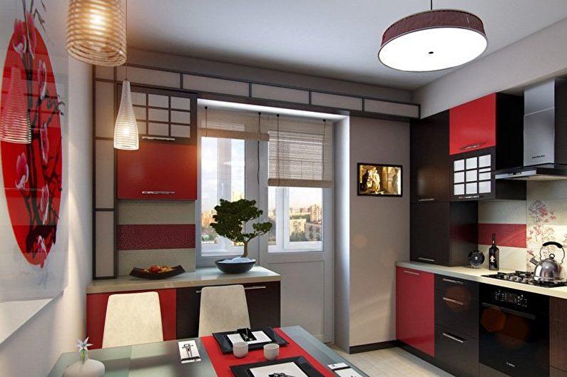Красно-черная кухня в стиле японский минимализм - Дизайн интерьера